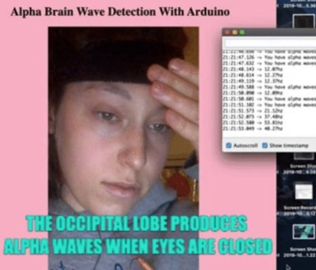Image of Dashiell Bark-Huss testing out her Arduino alpha brainwave detector.