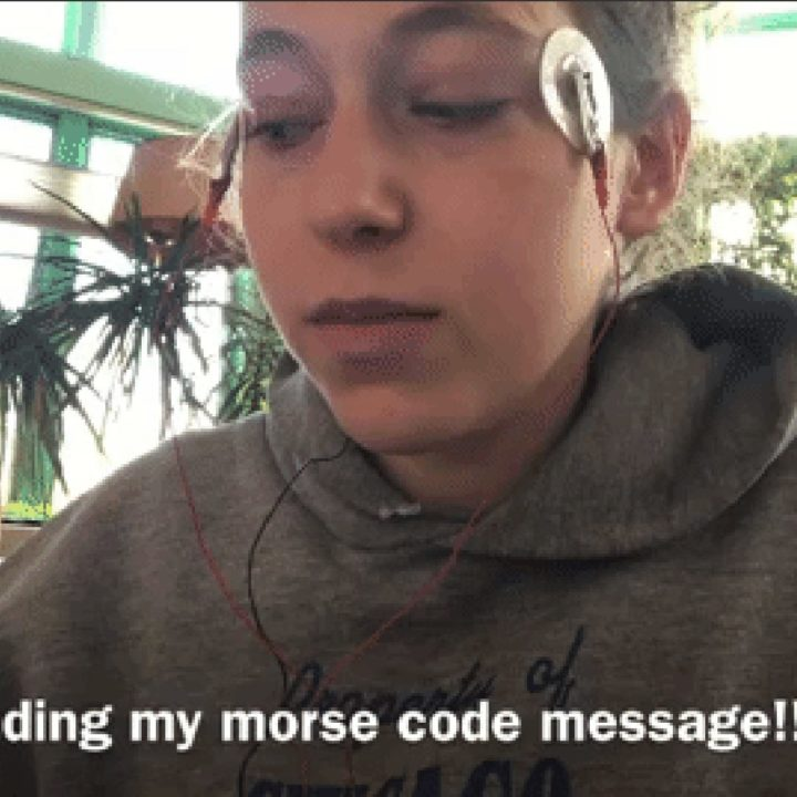 A image from a recording of Dashiell Bark-Huss texting using her eye movements and an EOG Morse code interpreter.